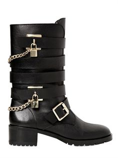 Carvela Kurt Geiger Buckled Combat Boots: Hot Fall Trend: Luxe Combat Boots. ModaMob Fashion and Style Lookbooks.