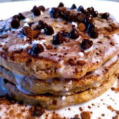 [homemade] Coconut Chocolate Chip Pancakes #food #foodporn #recipe #cooking #recipes #foodie #healthy #cook #health #yummy #delicious