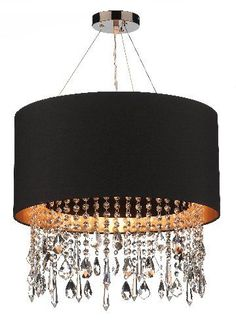 Pretty, but no way would I be allowed to have it in the house, LOL, too girly Pendant Chandelier, Ceiling Pendant, Chandelier Lighting, Ceiling Lights, Dar Lighting, Crystal Pendant, Chandeliers, Black Chandelier, Drum Pendant