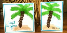 jpp - Work of Art Palmtree Cards / Palme / Stampin' Up! Berlin / Watercolor Words / Grußelemente  www.janinaspaperpotpourri.de