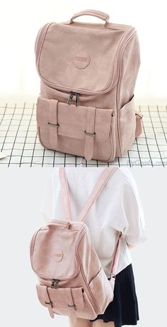 Fashion Travel Backpack - Fresh Double Buckle Girl Large High School Bag Soft PU Student Backpack Source by JeriKMurphy Travel Backpack, Backpack Bags, Leather Backpack, Fashion Backpack, High School Bags, Cute School Bags, Big Backpacks For School, Girl Backpacks, College Backpacks