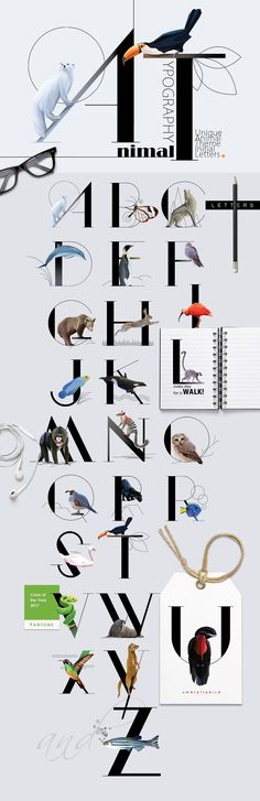Animal Typography - Initial Letter Decorated with Wildlife