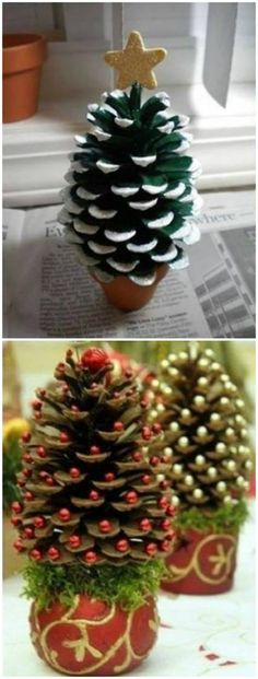 Mini Christmas Tree in pine cones - Christmas decorations outside ☃️ - . - Mini Christmas Tree in pine cones – Christmas decorations outside ☃️ – - Christmas Activities, Christmas Crafts For Kids, Homemade Christmas, Christmas Projects, Holiday Crafts, Noel Christmas, Christmas Wreaths, Christmas Gifts, Christmas Ornaments