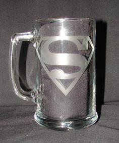 $13 Superman Logo Hand Etched on Beer Mug or Drinking Glass www.nanajofnine.com