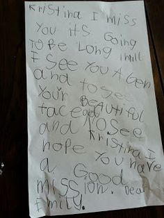 Letters from home.  6 year old Sister Emily!