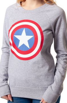 Ladies, now it's your turn to show your love for the most patriotic of the Marvel Comics heroes, Captain America. This comfortable sweatshirt features an image of Cap's Vibranium shield. Since receivi