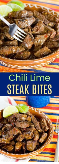 You Should Learn This Chili Lime Steak Bites . B'coz It's Super Appetizing. Simply Click Pin To Read Futher Beef Stew, Beef Stroganoff, Beef And Broccoli, Beef Stew Crock Pot Recipes, Beef Recipes For Beef Steak Recipes, Beef Recipes For Dinner, Mexican Food Recipes, Crockpot Recipes, Cooking Recipes, Beef Meals, Cooking Tips, Lime Recipes Dinner, Cooking Steak