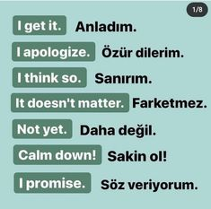English Words, English Lessons, English Grammar, Learn Turkish Language, Learn A New Language, Good Vocabulary Words, English Vocabulary, German Language Learning, Learning Spanish