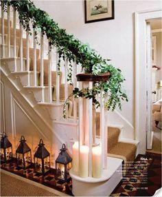 Ivy Christmas Stairs. Image via Homes and Gardens found @ folderofideas.blogspot.com