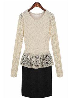 long-sleeved stitching Lace Dress