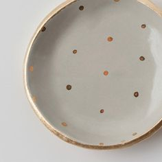 Gray and Gold Dot Dish by upintheairsomewhere on Etsy, $28.00