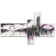 - Description - Why Accent Canvas? This exquisite Modern Purple Cityscape Canvas Wall Art Oil Painting is 100% hand-painted on canvas by one of our master artists. Each artists begins with a blank can