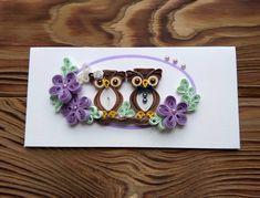 Свадебный конверт с нежными цветами и влюбленными совушками :) #квиллинг…