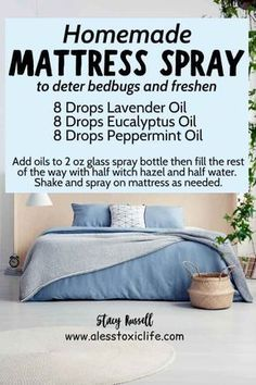 DIY Mattress Spray Deter bed bugs and make your mattress smell good with this homemade essential oil spread for your bedroom. Use it on your pillows, sheets, and mattress. This recipe uses 3 oils in almost every starter kit. Essential Oil Spray, Essential Oils Cleaning, Essential Oil Diffuser Blends, Doterra Essential Oils, Young Living Essential Oils, Bed Bugs Essential Oils, Essential Oil Cleaner, Plant Therapy Essential Oils, Homemade Essential Oils