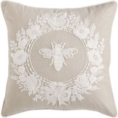 Featuring intricate stitching on a natural cotton cover, this isn't just a garden-variety pillow. It's the queen bee of pillows—atop your sofa, chair or bed. Plus, it's filled with a soft, shapely poly insert to keep things comfortable.