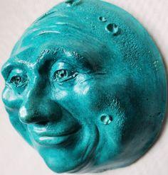 Turquoise Full Moon Wall Sculpture, Handmade Fine Artwork, Sale Price Offer #Handmade #SunMoonStarsZodiacAstrologyFantasy