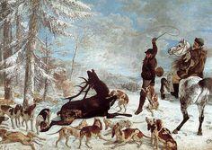 L'Hallali du cerf Gustave Courbet Date:1867 Huile sur toile 355 x 505 cm Ce tableau représente une scène de chasse à courre de façon réaliste. Le bleu du ciel illumine le tableau, ce qui contraste avec la scène, tout en lui donnant un côté froid. La scène est peinte dans toute sa cruauté avec le cerf acculé par la meute de chiens et battu par un des deux hommes. Le deuxième homme observe cette scène le regard morne, comme habitué à cette barbarie. Cela rend tragique la mort du cerf.