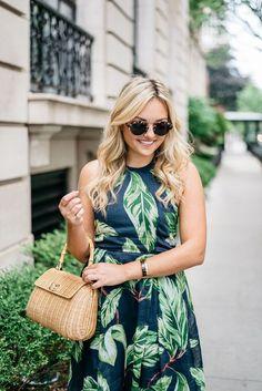 Leaf Print Halter Dress #anntaylor