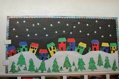 """The houses, pine trees, snowflakes, and snowy hillside in this """"Holiday Town"""" make for a cozy winter bulletin board display. I would give this display a title such as """"Winter Wonderland"""" Bulletin Board Tree, Christmas Bulletin Boards, Winter Bulletin Boards, Preschool Bulletin Boards, Creative Christmas Cards, Christmas Art, Christmas Projects, Winter Christmas, Winter Szenen"""