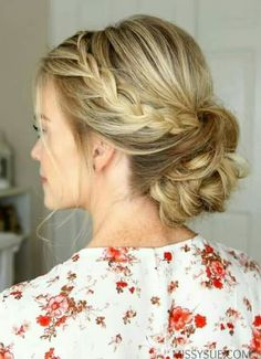 A … Rope Braid Low Bun – Swoon-worthy Summer Wedding Hairstyles – Southernliving. A subtle braid adds effortless interest to this updo. Bridal Hair Updo, Wedding Hair And Makeup, Braid Wedding Updo, Low Bun Wedding Hair, Prom Updo With Braid, Prom Makeup, Bridesmaid Hair Updo Braid, Prom Hair Bun, Wedding Beauty