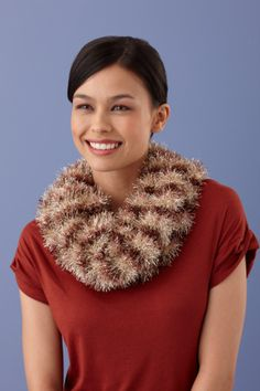 Loom Knit Striped Cowl