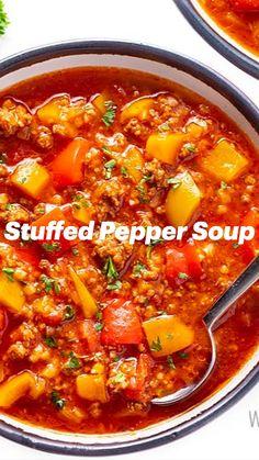 Low Carb Recipes, Whole Food Recipes, Soup Recipes, Diet Recipes, Recipies, Cooking Recipes, Healthy Recipes, Stuffed Pepper Soup, Stuffed Peppers