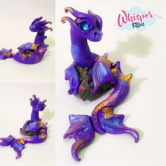 Purple aura sea dragon  By Whisper Fillies Unique handmade polymer clay horse, pony, unicorn and fantasy creatures. Visit my collection of adorable little  figurines on Facebook, Instagram and Etsy!  Whisperfillies.etsy.com