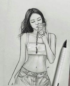 Art Sketches, Art Drawings, Kim Jennie, Korean Actors, Pop Art, Street Style, Paintings, Bts, Kpop