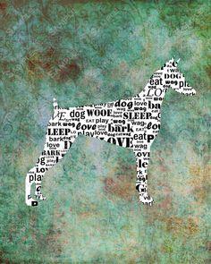 Doberman Dog Silhouette Word Art Print 8 X 10 Dog Print