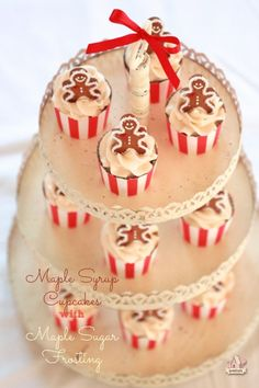 Maple Syrup Cupcakes with Maple Sugar Frosting - Gingerbread Men Cupcakes