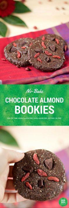 No-Bake Chocolate Almond Cookies   WIN-WINFOOD.com #healthy #vegan #glutenfree #paleo