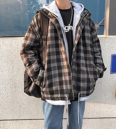 [Men] Wool Plaid Hooded Coat Jacket – Outfit Looks Indie Outfits, Retro Outfits, Grunge Outfits, Cute Casual Outfits, Boy Outfits, Vintage Outfits, Fashion Outfits, Outfits For Men, Mens Fall Outfits