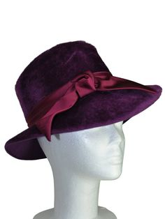 Fab Purple Hat with Satin Bow by RockItAgainVintage on Etsy