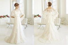 Very different.  I like the idea of the shoulders covered almost like a veil.  I bet it comes off, for the reception.