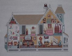 Garfield Style Dollhouse by Always & Forever Needleart  Lucinda Gregory Rice Design