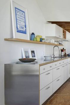 countertop ideas white kitchen with brush stainless steel counter