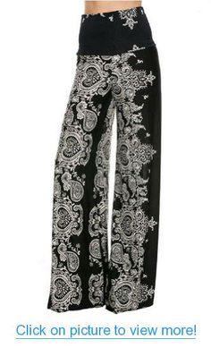 Fashion Forever Darling 878Black Paisley Wide Leg Yoga Palazzo Pants Misses