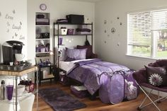 Love the purple and black. Again from Target and Bed Bath & Beyond. More for a first apartment than a dorm though