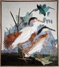 Quilt Tapestry Buff Backed Heron Raw Edge Applique by TimelessDog, $525.00