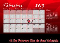 calendarios para imprimir san valentin