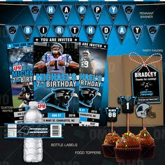 Carolina Panthers Ultimate Party Package great for Birthdays, Baby Shower or any special event. Football Birthday, 10 Birthday, Birthday Ideas, Panthers Team, Carolina Panthers Football, Carolina Pathers, Batgirl Party, Bar Mitzvah Favors, Panther Nation