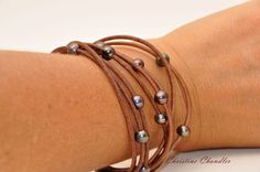Leather and Pearl Anklet with Swarovski by ChristineChandler