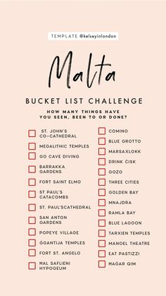 bucket list australia Top-things-to-do-in-Malta-Ma - bucketlist Travel Checklist, Travel List, Travel Vlog, Budget Travel, Malta Travel Guide, Travel Guides, Malta Beaches, List Challenges, Voyage Europe