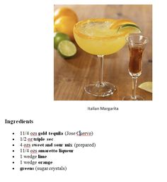 Italian Margarita....made a pitcher of this for Columbus Day girls night in...we emptied the pitcher! Big hit..easy to make..used generic liquor except on the tequila..this recipe is a keeper!!