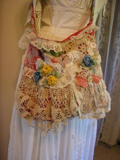 RESERVED Cute Floral Bag, embellished, laces, doilies, crocheted rose flowers, eco friendly. $50.00, via Etsy.