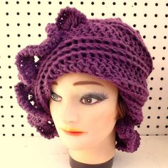 Unique Etsy Crochet Hats for Women - CYNTHIA Beanie Hat with Diagonal Ruffle Brim in Purple - Steampunk Hat Winter Fashion