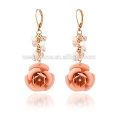 Cute Light Pink Colored Rose Flower Shaped Earrings with Free Moving Crystal Beads #Bead_Earrings, #cute