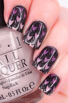 Nail art! Nail design purple with arrows