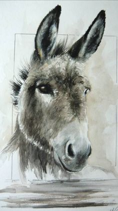 🍁🐴🍂 Animal Paintings, Animal Drawings, Art Drawings, Cow Art, Horse Art, Watercolor Animals, Watercolor Paintings, Donkey Drawing, Equine Art
