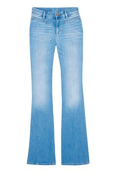 Wide-Leg Denim  With a substantial rise, slim fit through the thighs, and a gently flaring smokestack down to the floor, these jeans will give any pair of legs the appearance of a few more inches. Just remember to look for a jean that doesn't have stretch; a stiffer denim looks more modern.